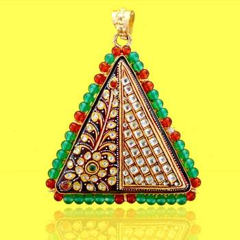 Tanjore flower Triangle Pendant