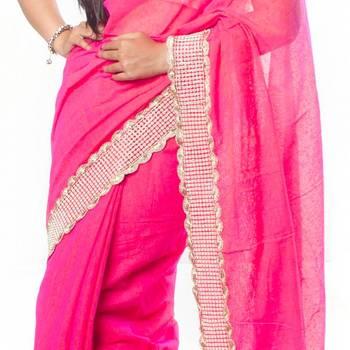 Pink Banarasi Jute Saree