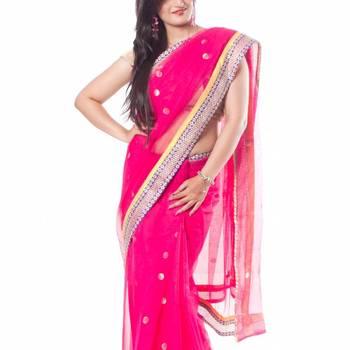 Rani Pink Banaras Net Saree